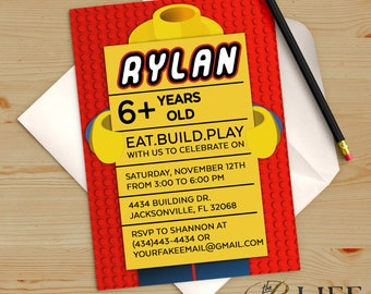 Building Blocks Primary Colors Birthday Invitation Printable DIY No. I290