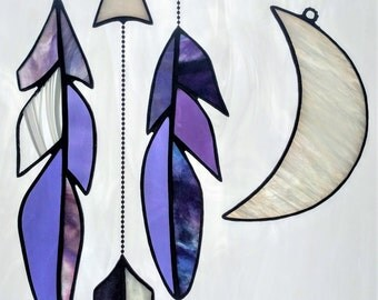 Stained Glass Collection, Feather|Moon|Arrow