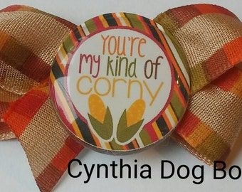 """Dog Bow- """"You're my Kind of Corny"""" Thanksgiving/Autumn Boutique Bow"""