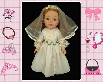 14 inch doll wedding bride dress / Mine to Love 14 / Hearts4Hearts girls / Wellie Wishers / Corolle les Cheries / Disney My 1st Princess