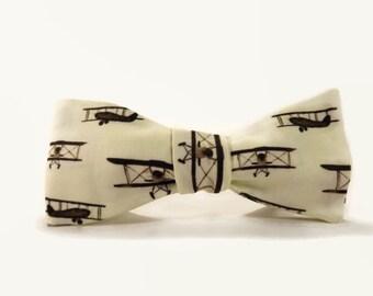 Airplane bowtie, biplane, biwing plane, vintage airplane bowtie, old airplanes, plane bowtie, pilot bowtie, aircraft bowtie, mens bowtie