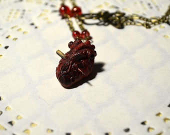 anatomical heart necklace vampire heart with stake, vampire hunter