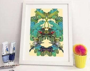 Frog art print - frogs in jungle - Frog illustrations - Jungle art- lizard art - A4 size treefrog art - Animal art print - FREE SHIPPING UK