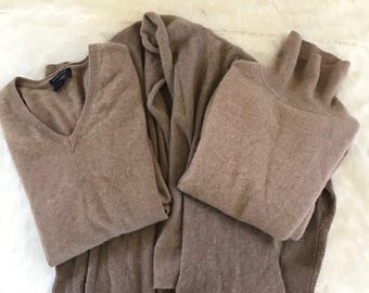 Upcycled 100% Cashmere Sweater Pieces Lot 3 for crafting craft yarn TAN Beige Light Brown
