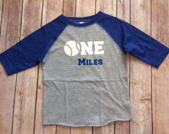 Baseball Toddler Shirt-1st Birthday Shirt -One Baseball Shirt Toddler - Boys 1st Birthday -Raglan 1st Birthday -Baseball Shirt -Personalized