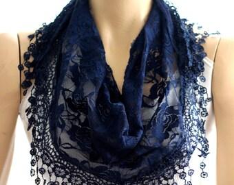 Navy blue lace scarf. summer scarf, scarves, summer accessories, accessories, scarf, lace scarves, lace shawl