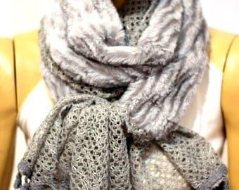 gray shawl scarf, scarves, spring scarf, winter scarf, lace shawl, lace brown scarf, night shawl scarves, gift ideas, brown scarf, shawl