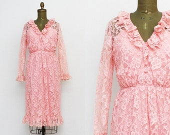 60s Pink Lace Dress - Size Small Vintage 1960s Ruffle Neck Pink Dress