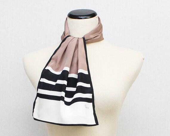 Vera Neumann Scarf - Vintage 1980s Pink Black and White Striped Oblong Vera Scarf