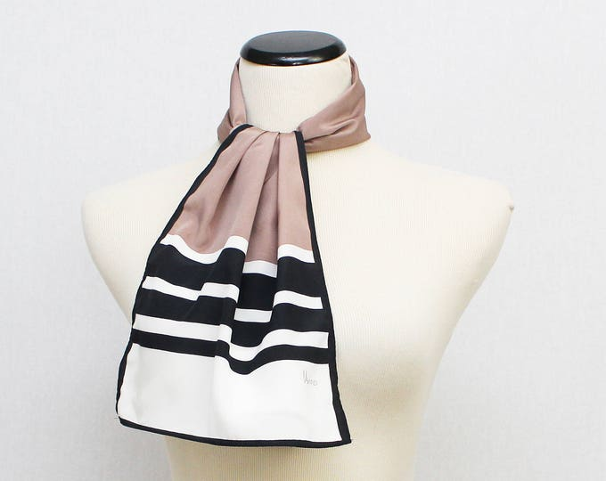 Vera Neumann Scarf - Vintage 1980s Pink Black and White Striped Oblong Vera Scarf
