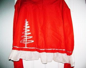 Vintage Christmas Apron, Christmas Apron, Holiday Tree Cotton Vintage Apron