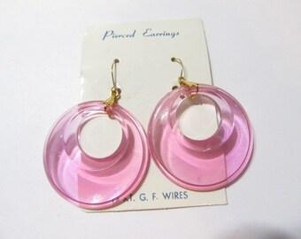 Light Lilac Pink Clear Unworn New Old Stock Plastic 1970s Earrings Stylish Pierced Hoop Earrings 14k g.f. Earwires Vintage