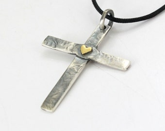 Sterling silver Cross - Men's Cross - 100% Handmade - Hammered- Oxidized - Personalized Cross - Christian Cross