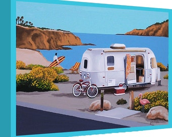 Canvas Print Mid Century Modern Eames Retro from Original Painting Airstream Surfer