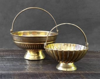 Brass Baskets - Ribbed Baskets - Gold Planters - Flower Baskets - Made in India - Set of Two