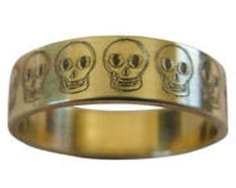 Row of Skulls Engraved Wedding Band 6mm Wide 14K Gold