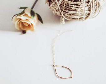 Gold Open Leaf Necklace | Simple Necklace |  Delicate Necklace