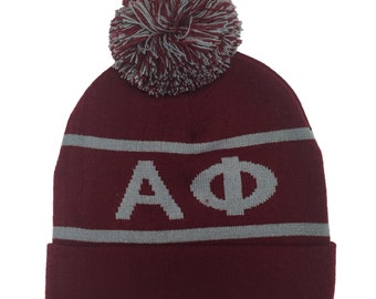 Alpha Phi Knit Beanie Pom Winter Hat