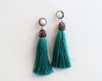 Turquoise tassel earrings, large statement earrings
