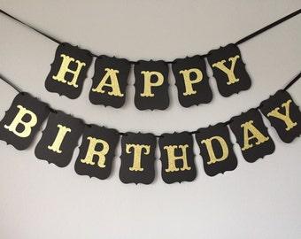 Birthday Banner, black and gold, happy birthday banner