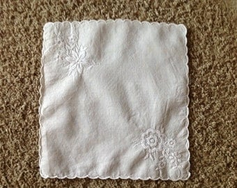 Vintage white hankies wedding handkerchief