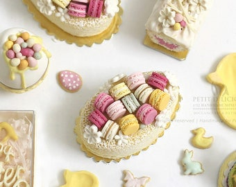 SPRING Egg Shaped Loaf Cake with Colourful French Macarons - Blossom Easter- Dollhouse Miniature Cake 1:12