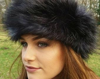 Stunning Blue Black Faux Fur Headband / Neckwarmer / Earwarmer Handmade in Lancashire England