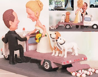 Personalised wedding cake topper - Tow Truck Wedding Cake Toppers (Free shipping)