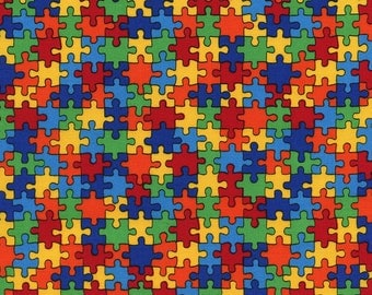Multi Colored Puzzle Pieces, Autism Awareness, C1653 Cotton Fabric by Timeless Treasures! [Choose Your Cut Size]