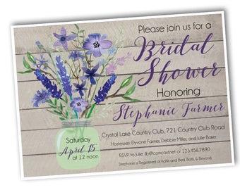 "Rustic Wildflowers Bridal Shower Invitation -- Custom Invite -- Printable Digital File -- 5x7"""