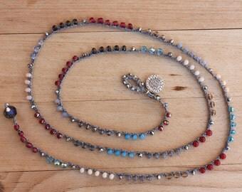 Turkish Coin Crocheted Necklace/Five Wrap Bracelet , Boho Chic Bracelet