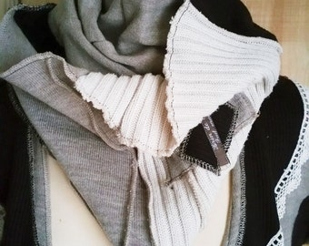 Double collarband / snood, chocolate, taupe and ecru