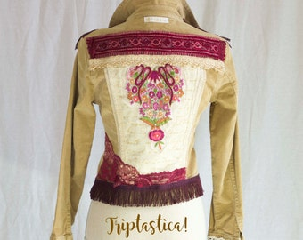 Altered Couture Jacket,Upcycled Jean Jacket, Wearable Art Clothing, Art to Wear, Triptastica Eco Couture