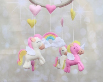 Unicorn mobile Baby mobile Unicorn nursery mobile baby girl mobile fairytale mobile cot mobile Pegasus mobile felt crib mobile