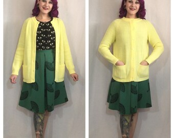 Vintage 1970's Yellow Knit Cardigan with Pockets by LeRoy