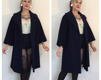 Vintage 1960's Lilli Ann Navy Blue Wool Swing Coat
