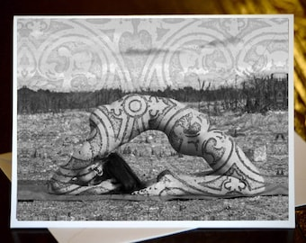 3d hand embellished black and white yogi angel feathered
