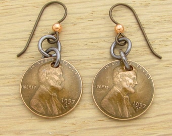For 60th: 1957 Dark Copper US Penny Earrings 60th Birthday or 60th Anniversary Gift Coin Jewelry