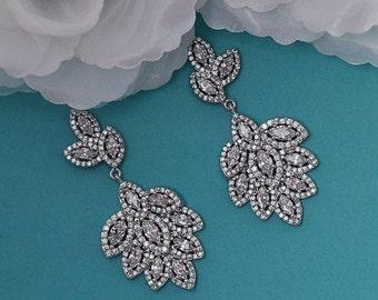 CZ Bridal Earrings Swarovski Crystal Dangle Chandelier Earrings Vintage Cubic Zirconia Bridal Wedding Jewelry Prom Drop Earrings 049