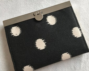 Small Card Wallet-Black with White Circles