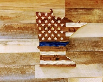 Derek Haehnel Thin Blue Line Minnesota Chisel Texture Carved Wooden flag.