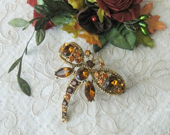 Vintage Amber Rhinestone Dragonfly Brooch - Mint Condition