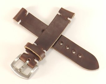 Brown Horween Chromexcel leather watch strap, handmade in America - 18,  20, 22mm - Hand Stitched - Choice Of Thread