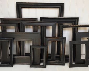 Gallery Wall, Frame Set, Distressed Frame Set, Black Frames, Picture Frames, Shabby Chic Frames, Wall Hanging, Rustic Frames