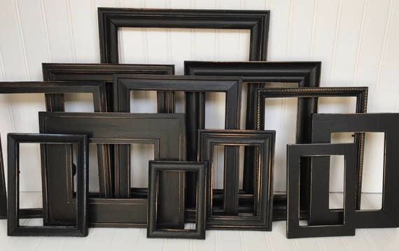 gallery wall frame set distressed frame set black frames picture frames shabby chic frames wall hanging rustic frames from birdiegogo on etsy studio - Distressed Frames