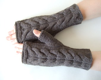 Knitted of ALPACA and MERINO wool. Warm handmade BROWN fingerless gloves, wrist warmers, fingerless mittens. Cable gloves. Hand gloves.