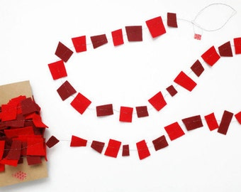 Felt Garland, Red Confetti Garland, Geometric Garland, Felt Party Garland,  All Occasion Galrand, Any Occasion Garland, 30ft Long