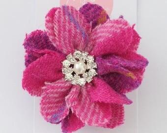 Pink Purple Harris Tweed Brooch, Checked Tweed Corsage, Scottish Gift Idea, Wedding Corsage, Birthday Gift, Anniversary Gift