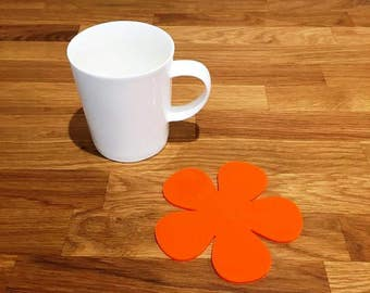 Daisy Shaped Orange Gloss Finish Acrylic Coasters