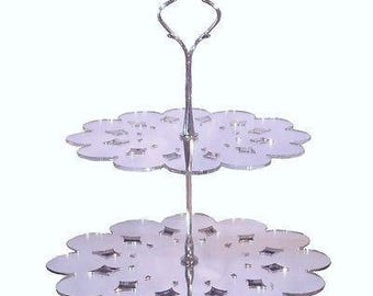Doily Shaped Two Tier Silver Rod Acrylic Cup Cake / High Tea Cake Stand - In Various Sizes and Colours